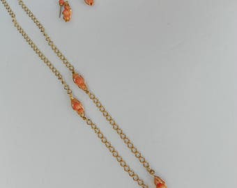 Vintage Avon Gold Necklace orange stones with earrings