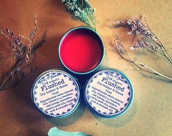 Flushed, lip butter and cheek stain, organic tinted balm, lip balm, lip butter, cheek stain, moisturizer, tinted balm