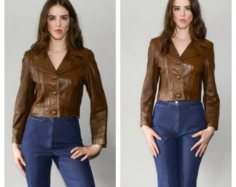 Brown leather jacket   Etsy