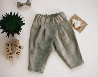 Easter pants for baby, Boy linen pants , Baby boy linen trousers, Boy white linen pants, Kids linen trousers ,Toddler boy clothing