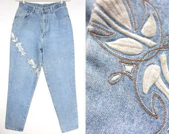 80s Embroidered Jeans High Waisted Jeans Light Wash Jeans Mom Jeans Hipster Jeans Grunge Jeans Vintage Jeans Hippie Jeans Boho Jeans Size 14