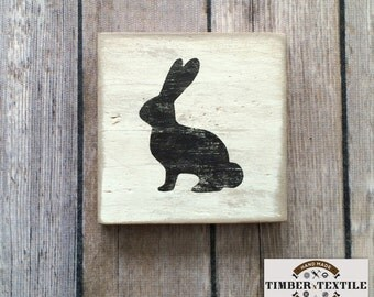 """Wood Easter Sign, Wood Easter Bunny Sign, Rustic Easter Bunny Sign, 4"""" x 4"""""""