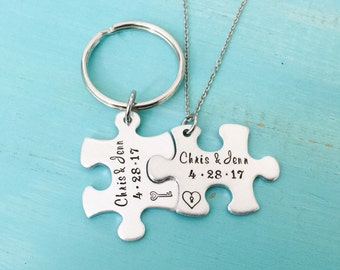 His and Hers - Puzzle Necklace -Personalized Couples Gift -Couples Jewelery -Matching Couples -Couples Set -Puzzle Jewelry-Keychain Necklace
