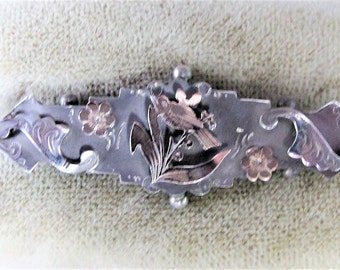 Outstanding Victorian 1904 Antique Solid Silver & Gold Love Luck Sweetheart Brooch Bird Flowers - Hallmarked