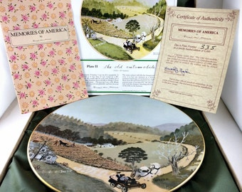 Grandma Moses Memories of America Collector Plate The Old Automobile COA & Case