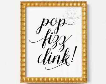 Pop Fizz Clink Sign PRINTABLE Artdining Room Artkitchen Wall Decorkitchen