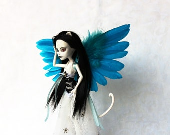 Doll wings, blue feathers, for MH or BJD