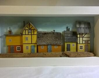 Driftwood House, Shadowbox Art, Driftwood Art Diorama