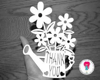 Thank You Flower paper cut svg / dxf / eps / files and pdf / png printable templates for hand cutting. Digital download. Commercial use ok.