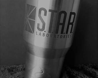 The FLASH - STAR LABS logo - Laser Etched 20 or 30 oz Insulated Tumbler