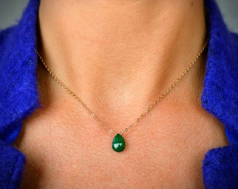 Genuine Emerald Necklace, May Birthstone, Natural Emerald Pendant, Green Gemstone Jewelry: 14k Gold Filled, Rose Gold, Sterling Silver