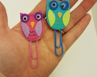 Funky Colored Owls bookmarks / page markers / page holders / sale / paperclip