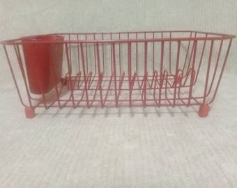 RUBBERMAID Retro Red Vintage Dish Drying Rack Kitchen 1980's Plate Cup Retro Storage Organizer