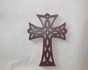 Wooden wall cross made from Purple Hart wood