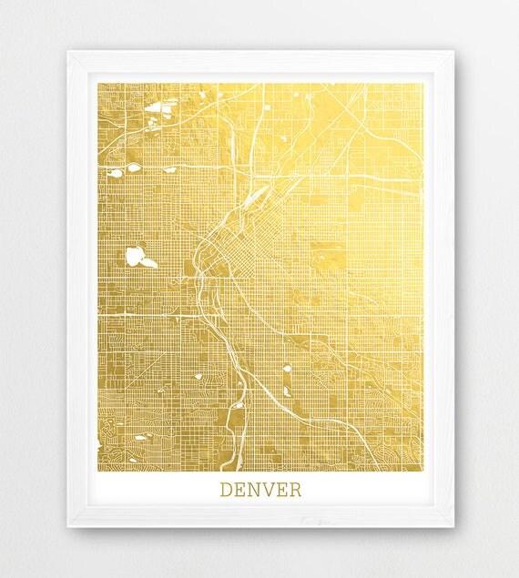 Denver Urban Map Print Denver City Street Map Poster Denver