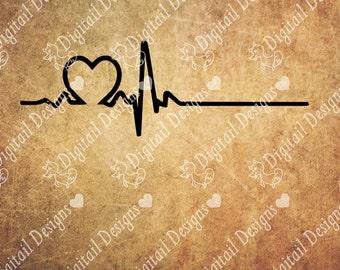 Heart EKG SVG - png - dxf - eps - fcm - ai - Cut File for Silhouette, Cricut - Medical Love - Heart SVG - Heartbeat