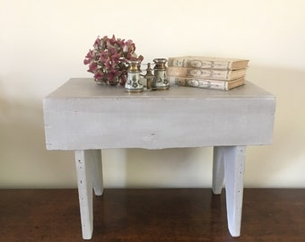 Vintage Wooden Stool, Small Table, Rustic Stool, Country Cottage Decor, Shabby Chic