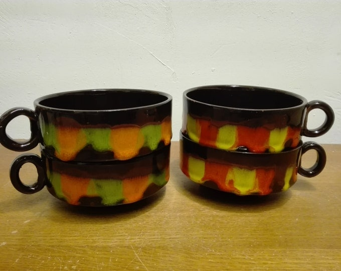 4x soup bowl, retro lava design
