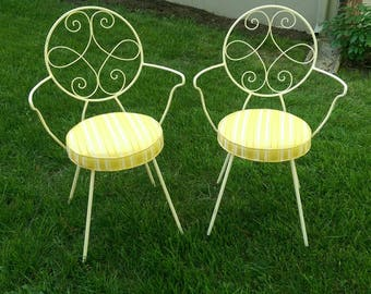 Authentic vintage French wrought iron conservatory patio bistro parlor ice cream soda chairs