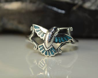 Sterling Silver Hummingbird Ring Inlaid With Kingman Turquoise Sizes: 5 Through 11 (half Sizes Available)
