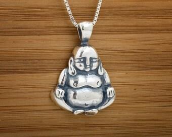 STERLING SILVER Buddha Pendant - Chain Optional
