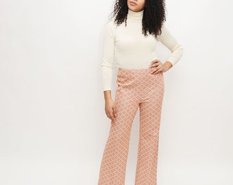 70s Print Pants - Vintage, High Waisted, Print, Flared, Pastel
