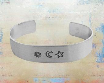"Sun Moon Star Aluminum Cuff Bracelet - Wanderlust - Hand Stamped - Moon Child 1/2"" Wide"
