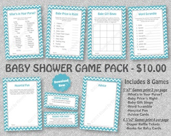 Teal Silver Glitter Baby Shower Game Pack - 75% OFF - PRINTABLE Teal Baby Shower Games- 8 Pack - LTeal Silver - Diaper Raffle 11-S47