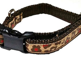 Brown Flower Cheetah Collar (Small) with Buckle - Tan, Brown, Red
