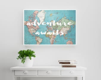 Adventure Awaits typography on vintage world map. Wanderlust, travel, shabby-chic world map poster print. Home decor and wall art. 11x14