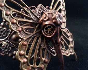 Steampunk Raven Butterfly cuff | Butterfly cuff | Raven Cuff | Bird Skull Cuff | Steampunk Jewelry | Butterfly Jewelry | Bird Skull Jewelry