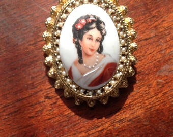 Limoges Brooch / French Brooch / Women's Accessories