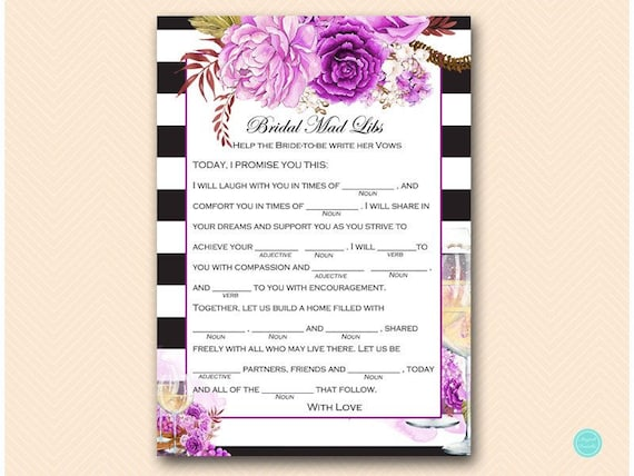 Purple Winery Bridal Shower Games Wedding Vow Mad Libs Help Bride Write Her Vows Lib BS521
