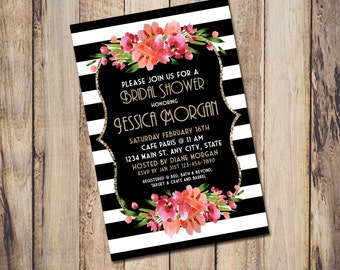 Black and White Stripe Invitation for any occasion, digital printable customizable