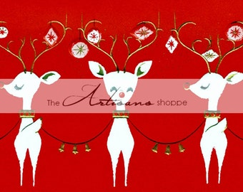Instant Art Printable Download - Five White Reindeer Christmas Card Red White - Altered Art Paper Crafts Scrapbooking - Vintage Retro Kitsch