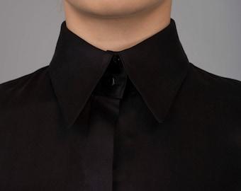 Women's silk shirt. Black blouse.