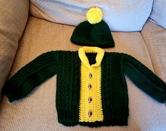 Green Bay Colored Sweater and Hat