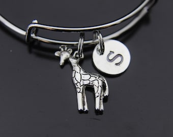 Giraffe Bracelet Silver Giraffe Charm Bangle Giraffe Jewelry Expandable Bangle Personalized Bangle Initial Charm Bangle Customized Jewelry