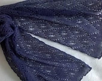 purple lace scarf/ lace scarf / purple scarf/ summer scarf/ long scarf