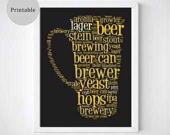 Beer Art, Beer Print, Printable Wall Art, Beer Lover, Beer Gift, Beer Gifts For Him, Beer Lover Gift, Gift for Beer Lover, Kitchen Printable