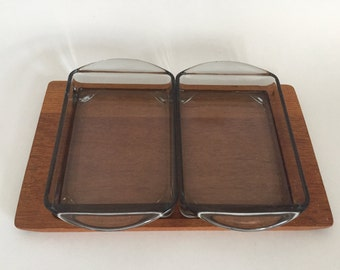 Mid Century ModernTeak Serving Snack Tray With Gray Glass Dishes.