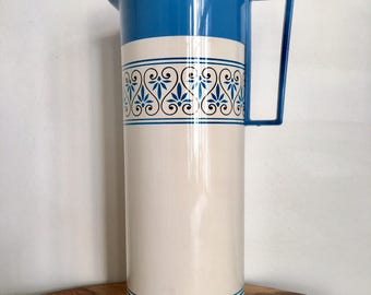 Vintage Blue & White Aladdin Insulated Beverage Butler Thermos, Hot/Cold Holds 1 Quart