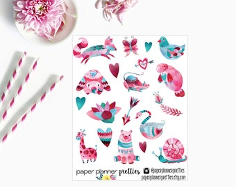 Valentine's Animals Planner Stickers - Valentine's Day - Watercolor animals - Hearts - Love - Inkwell Press stickers - Erin Condren Stickers