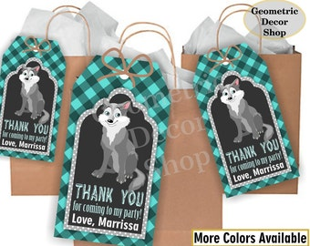Lumberjack favor tags birthday wolf favor tags teal aqua Plaid Woodland Great Wolf Lodge tags Rustic camping label loot bag candy FTLJ11