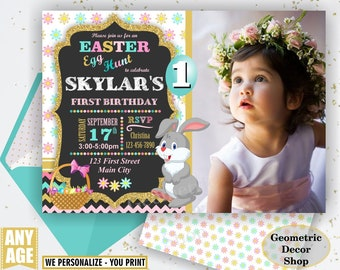 Easter Birthday Invitation Egg hunt Invite little Bunny Easter egg Hunt Pink Teal aqua Gold glitter Girl Invitations Photo Photograph BDE14