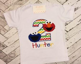 Sesame Street Birthday shirt/ Cookie Monster & Elmo birthday shirt/ Personalized Sesame Street Birthday Shirt