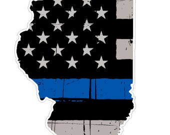 Illinois State (V14) Thin Blue Line Vinyl Decal Sticker Car/Truck Laptop/Netbook Window