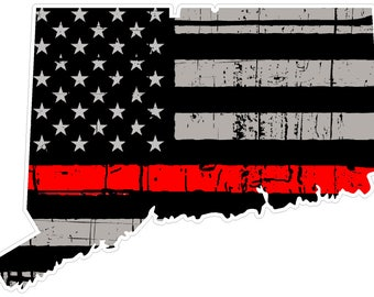 Connecticut State (C9) Thin Red Line Vinyl Decal Sticker Car/Truck Laptop/Netbook Window