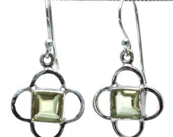 Lemon Quartz Earrings, 925 Sterling Silver, Unique only 1 piece available! color yellow, weight 5.1g, #24455