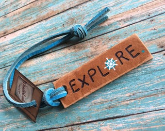 Wanderlust Leather, Custom Leather Luggage Tag, Personalized Luggage Tags, Mini Luggage Tag, Small Travel Gift